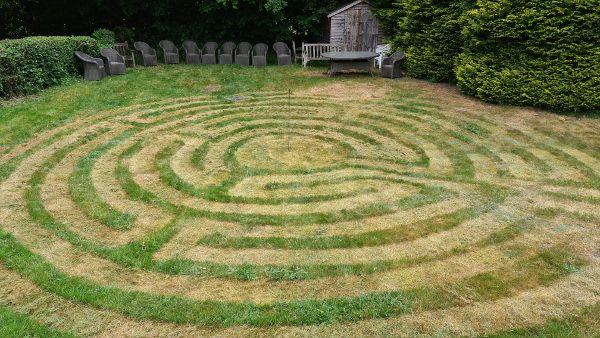 Grass mown labyrinth at Kingshill Baptist Church