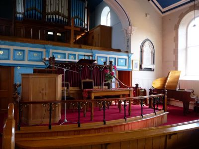 Hill Lane Baptist Church Briercliffe - Pulpit and Communion area