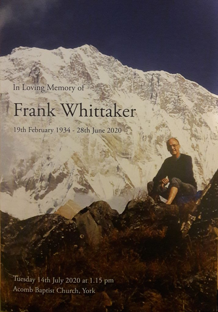 Frank Whittaker Order of Service