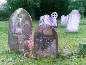 Victorian headstones in churchyard