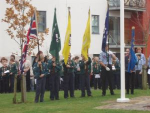 Scout and Guide standard bearers at War Memorial