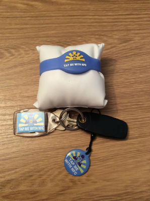 The Dementia Buddies badge, key fob and bracelet