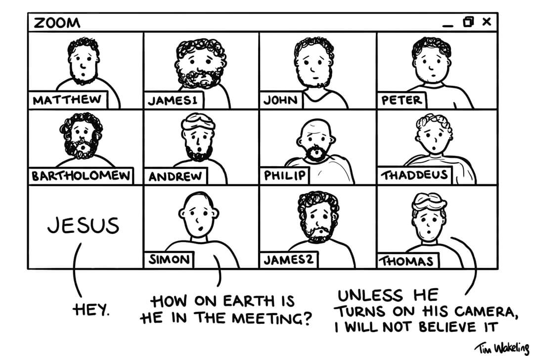 Cartoon of disciples in Zoom meeting
