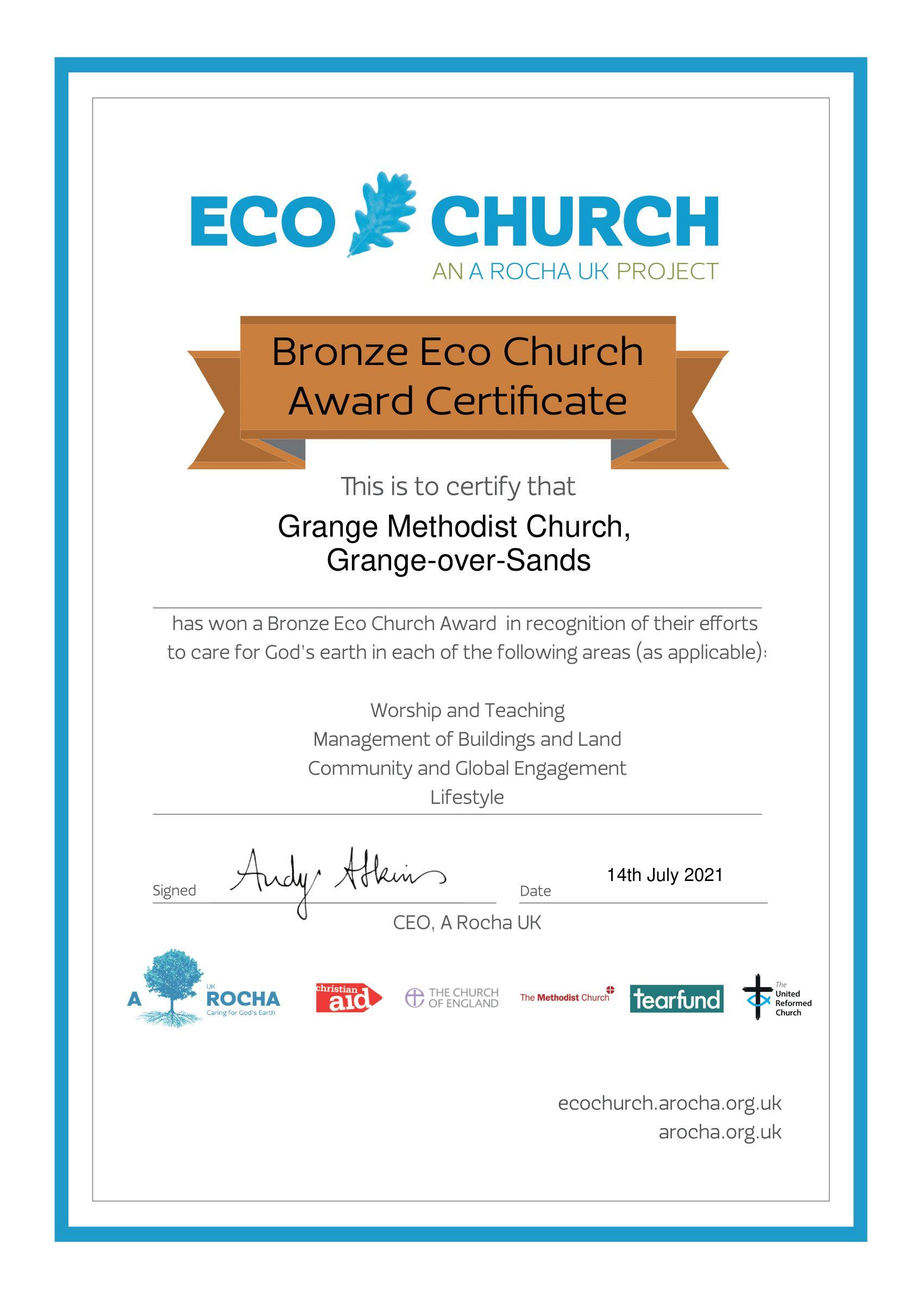 Grange bronze EcoChurch certificate
