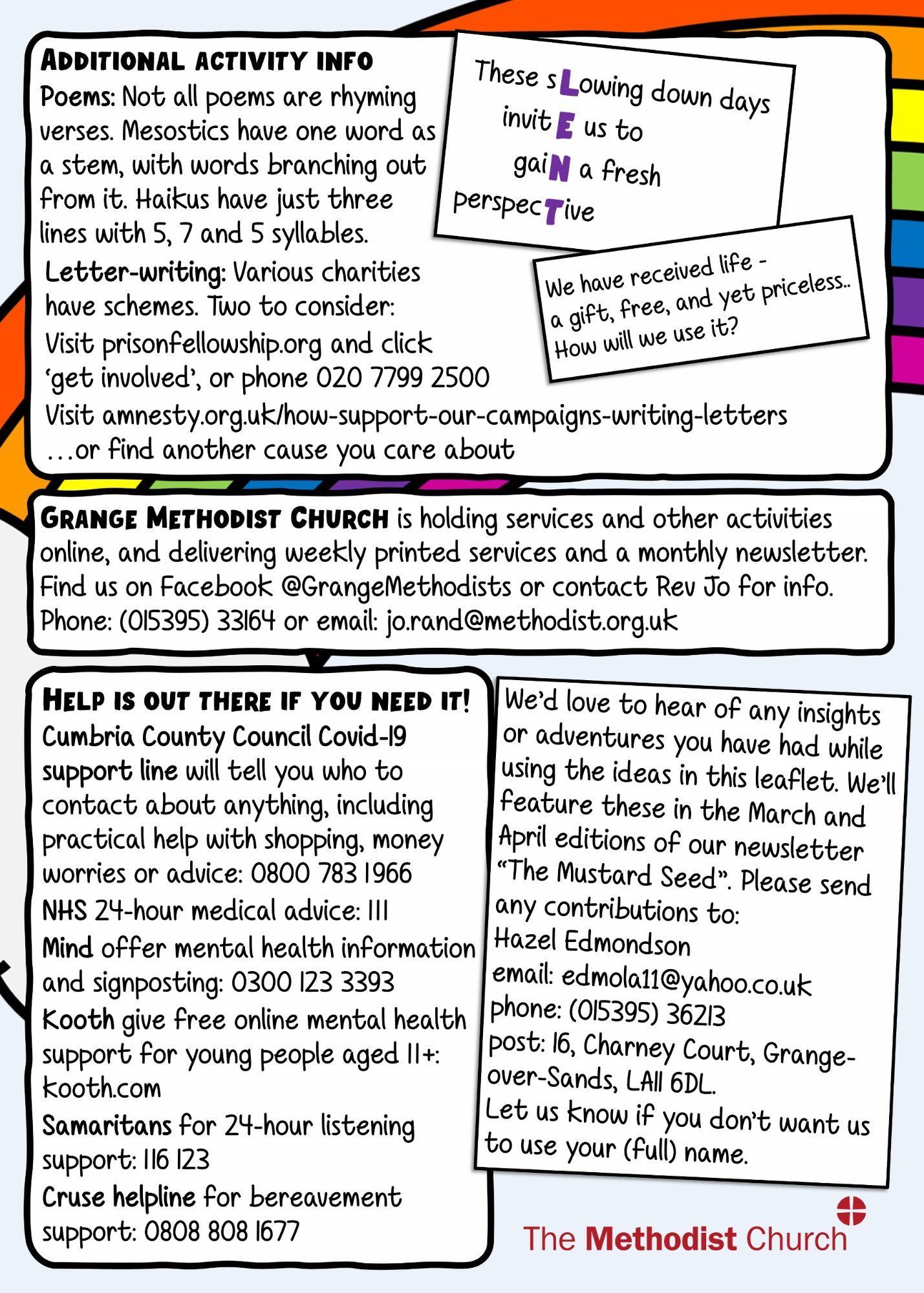 Back page of leaflet