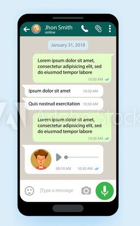Simulated WhatsApp session on smartphone