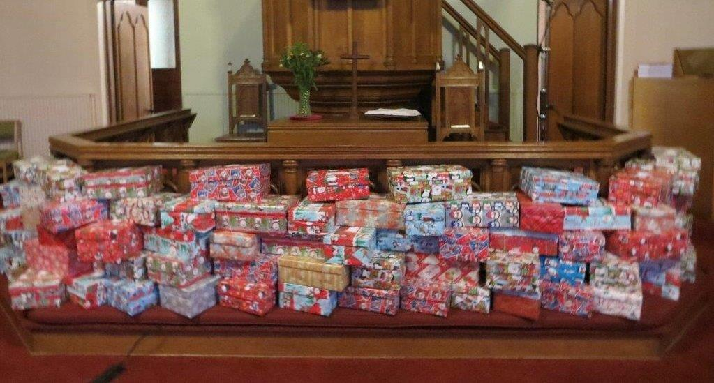 2019 shoeboxes on display in church