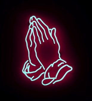 Praying hands neon image