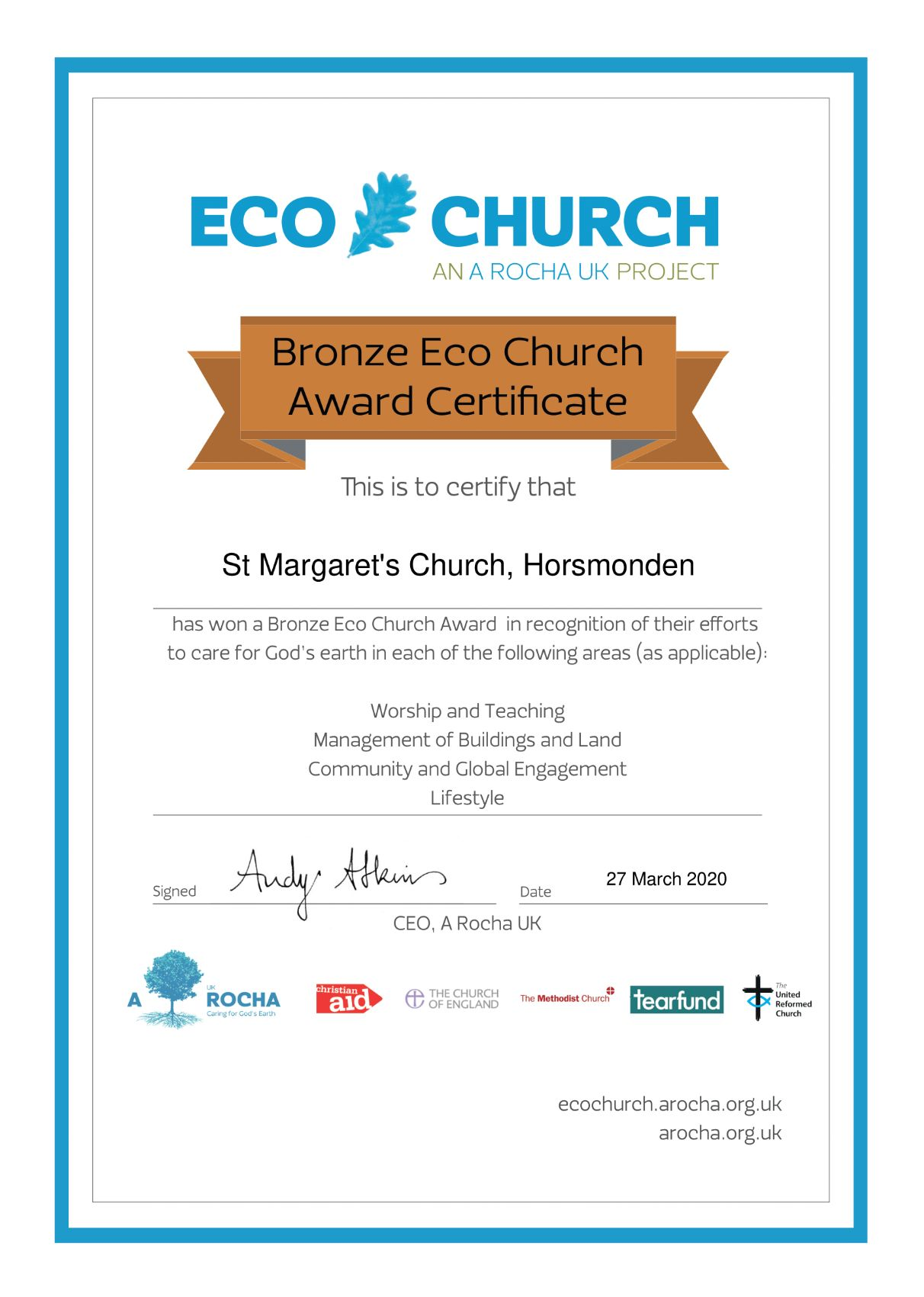 Eco Church Bronze certificate