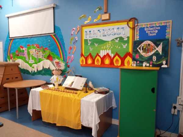 The worship table at Flamborough Primary School