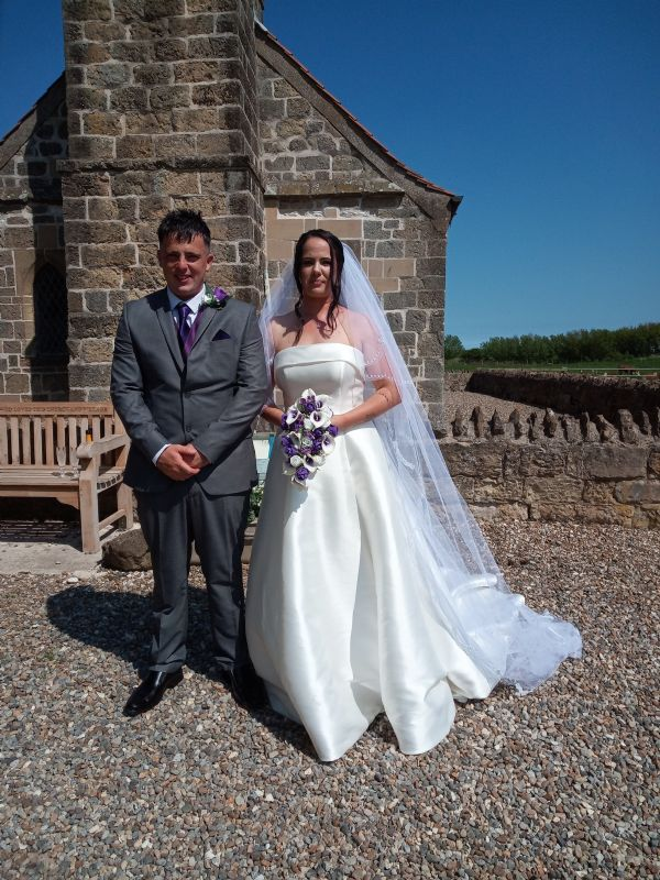 Linzy and Dan Thompson, who were married at St Leonard's in June
