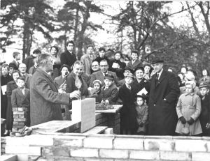 Laying the foundation stone of the current church building