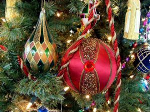 Coloured baubles on tree