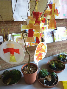 Messy Church Easter crosses and gardens
