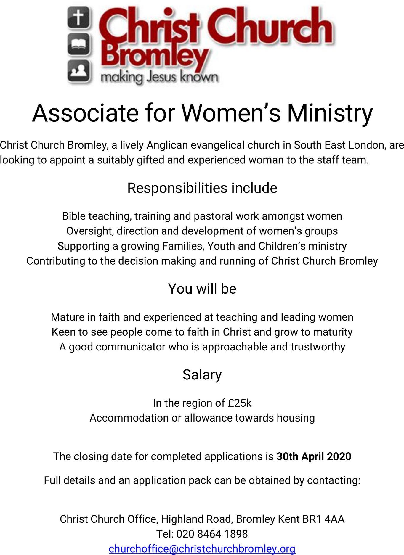 Associate for Women's Ministry