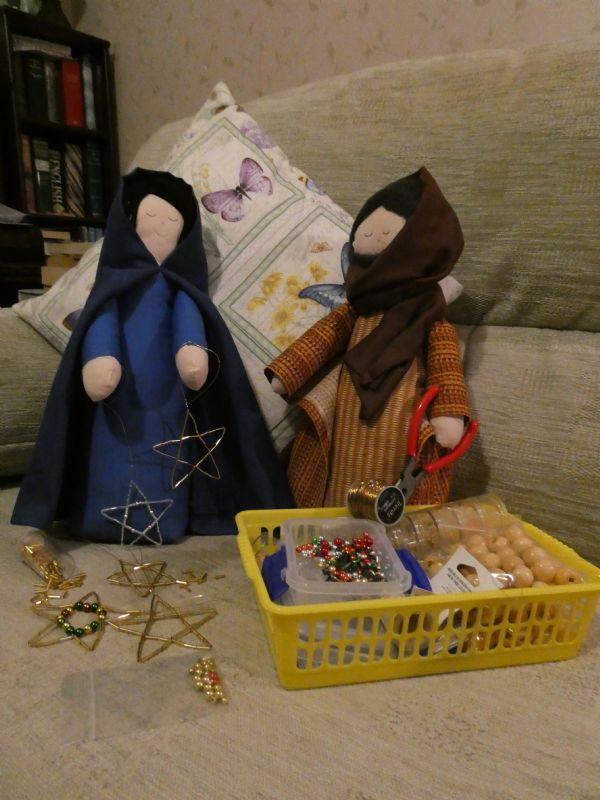 Joseph & Mary enjoyed doing some craft work making beaded stars