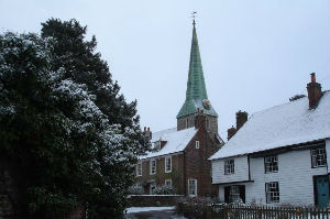 Barham church in the snow