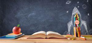 Book stack  blackboard