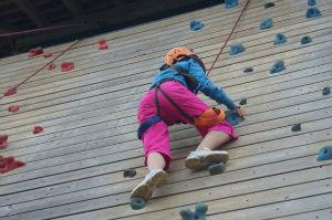 Climbing an adventure wall
