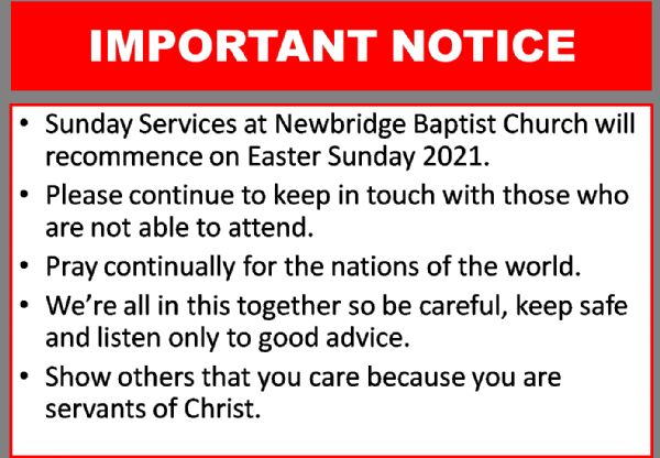 Sunday Service Re-open Easter 2021