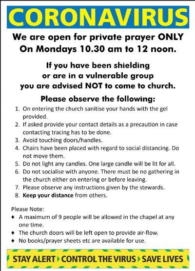 Open for Private prayer notice