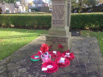 Rastrick War Memorial outside the Library
