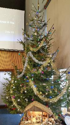 Christmas tree and crib