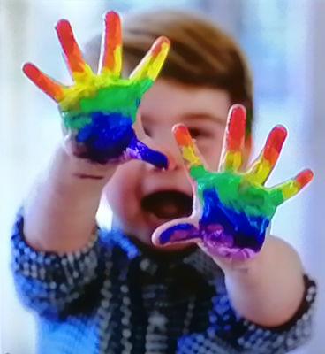 Prince Louis - rainbow hands