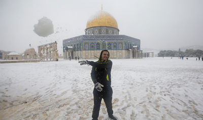 Snow at the Dome of the Rock