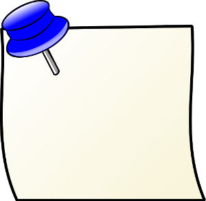 Plain note, held by blue pin