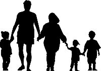Silhouette of family, walking together