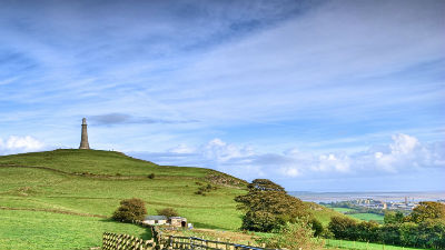 Wide view of Hoad, hill and sky