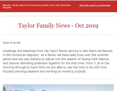 Top part of the ministry update from Malcolm and Yanet in Dominican Republic.<br>on 2nd October 2019