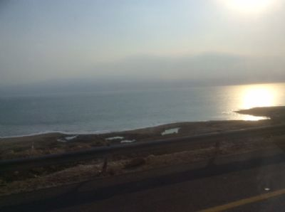 65 The Dead Sea from our coach.  Photo taken during Holy Land Pilgrimage 4th Dec 2018
