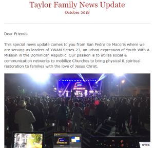 Malcolm and Yanet Taylor News Update.  Part of first page