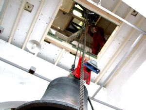 17th photo in the journey of the removal of Number 5 Bell from Lytchett Minster Parish Church in 5th November 2019