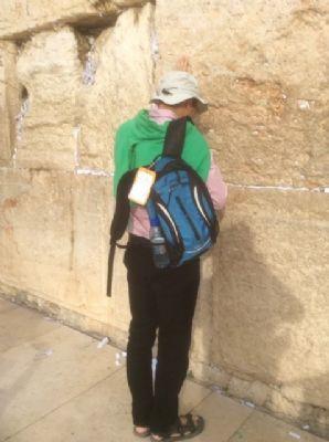 51 Jean de G praying at the Wailing Wall.  Photo taken during Holy Land Pilgrimage 2nd Dec 2018