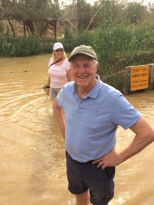 Dave P in the River Jordan. Photo taken during Holy Land Pilgrimage 29th Nov 2018