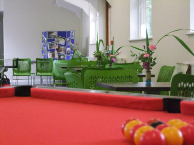 Looking from behind the pool table in CJs