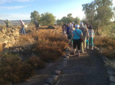 Walking in Jesus's footsteps in Bethsaida.Photo during Holy Land Pilgrimage 27th Nov 2018