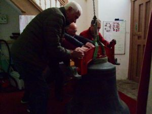 Ninth photo in the journey of the removal of Number 5 Bell from Lytchett Minster Parish Church in 4th November 2019