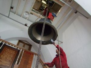 16th photo in the journey of the removal of Number 5 Bell from Lytchett Minster Parish Church in 5th November 2019