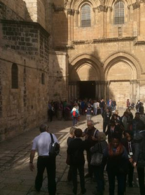 55 Outside courtyard to the Church of the Holy Sepulchre, Jerusalem.  Photo taken during Holy Land Pilgrimage 2nd Dec 2018
