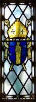 one of the stain glass windows at St Dunstans