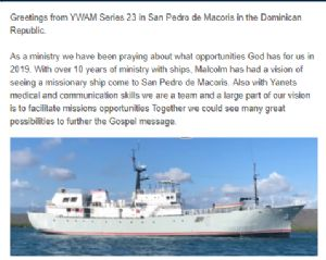 Part of the Ywam Series 23 Pacific Update on 2nd June 2019