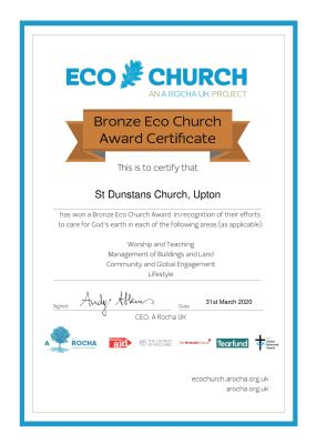 Bronze Award Certificate awarded to St Dunstan's on 31st March 2020