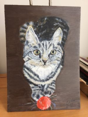 Paining of a cat with a ball by Gill G  14/6/20