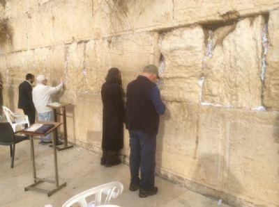 50 Dave P praying at the Wailing wall.  Photo taken during Holy Land Pilgrimage 2nd Dec 2018