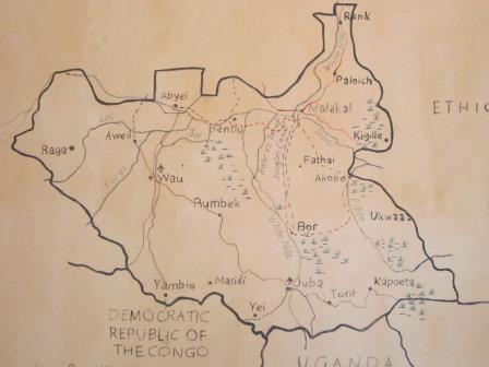 sketch map of South Sudan inc Juba 1st city and Wau 2nd city