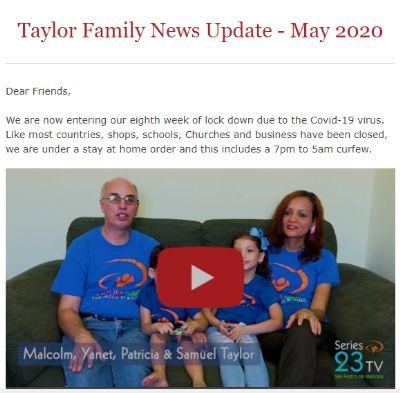 Image from the top of the News Update for May 2020 from the Taylor Family